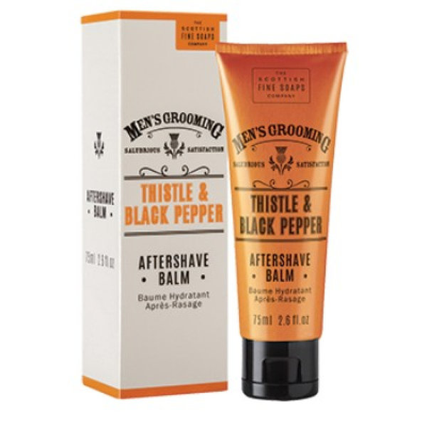 SCOTTISH FINE SOAPS MEN'S GROOMING THISTLE & BLACK PEPPER AFTERSHAVE BALM BALSEM 75ML