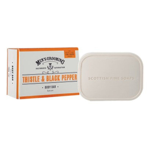 SCOTTISH FINE SOAPS MEN'S GROOMING THISTLE & BLACK PEPPER BODY BAR ZEEP 200GR